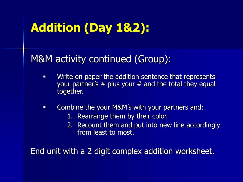 Addition (Day 1&2):