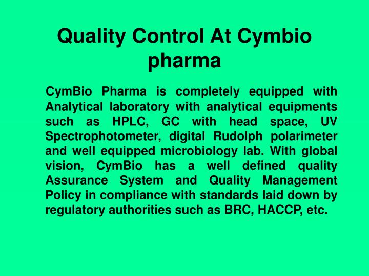 Quality Control At Cymbio pharma