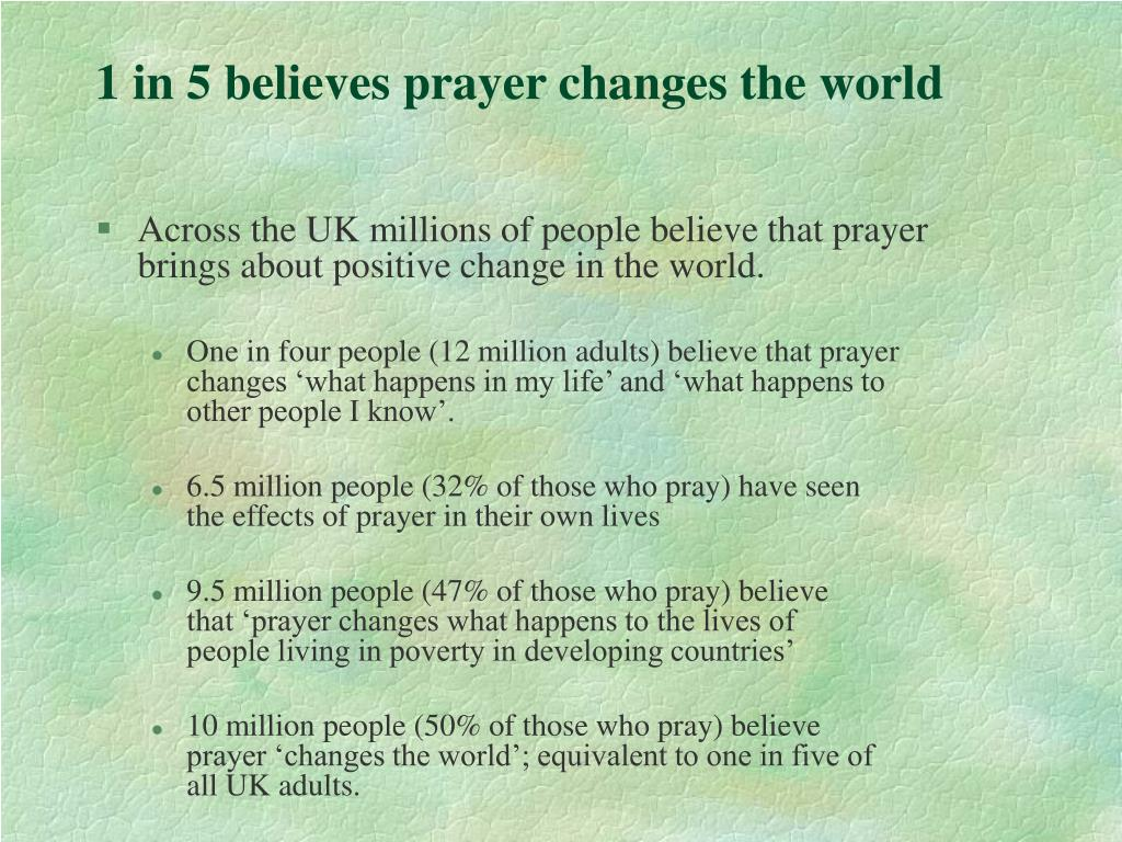 1 in 5 believes prayer changes the world