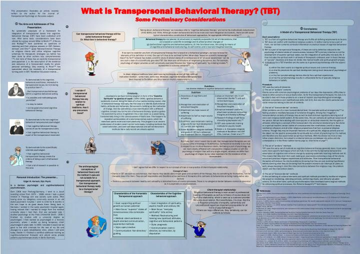 What is Transpersonal Behavioral Therapy? (TBT)