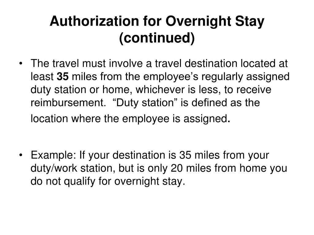 Authorization for Overnight Stay (continued)