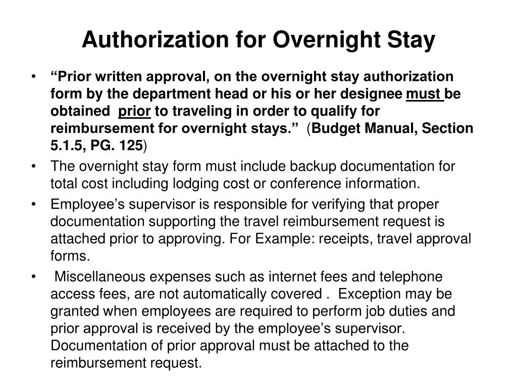 Authorization for Overnight Stay