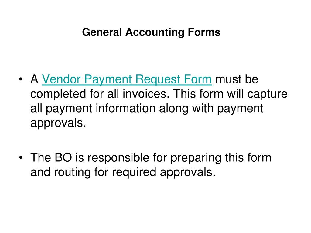 General Accounting Forms