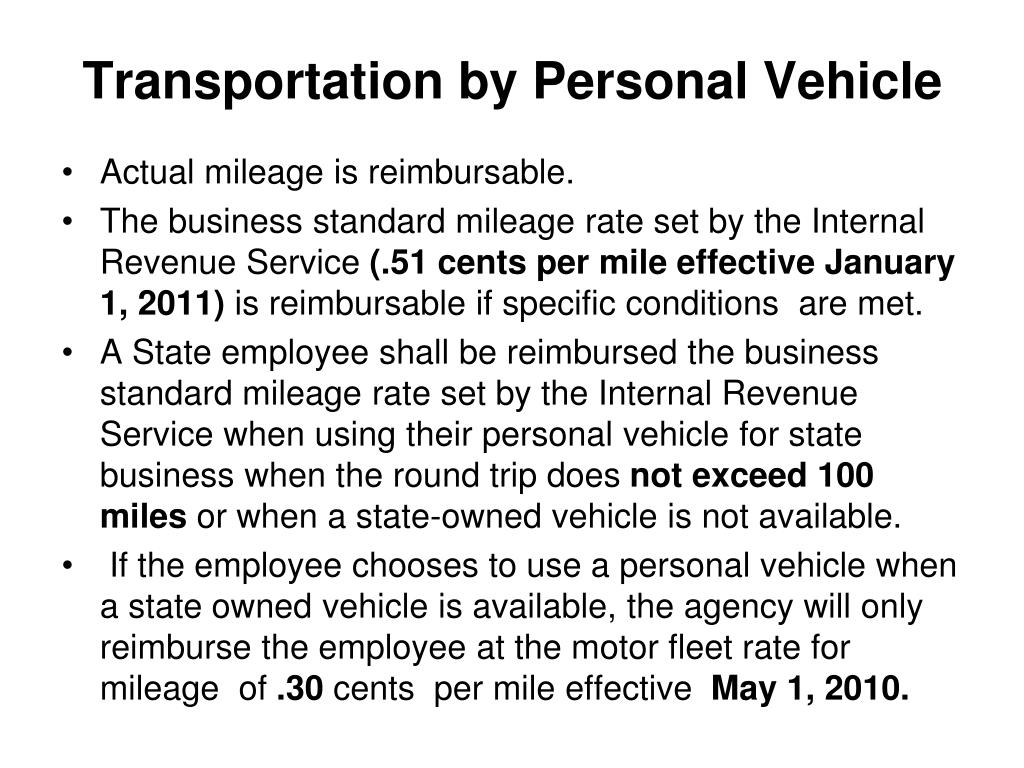 Transportation by Personal Vehicle
