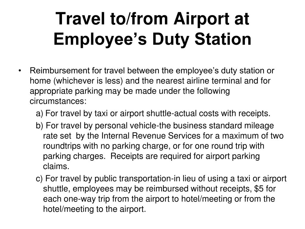 Travel to/from Airport at Employee's Duty Station