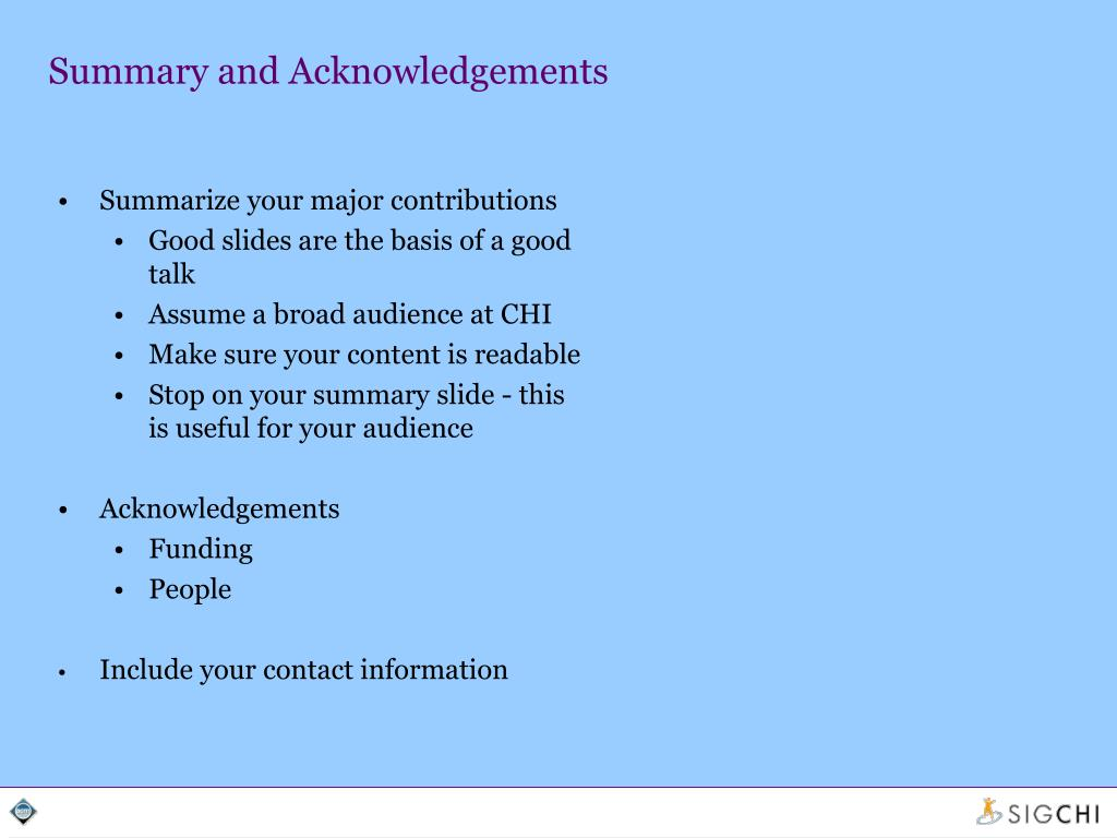 Summary and Acknowledgements