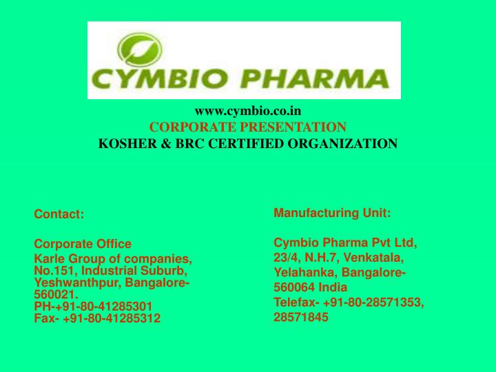 Www cymbio co in corporate presentation kosher brc certified organization