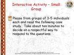 interactive activity small group