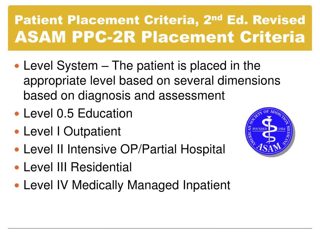 Patient Placement Criteria, 2