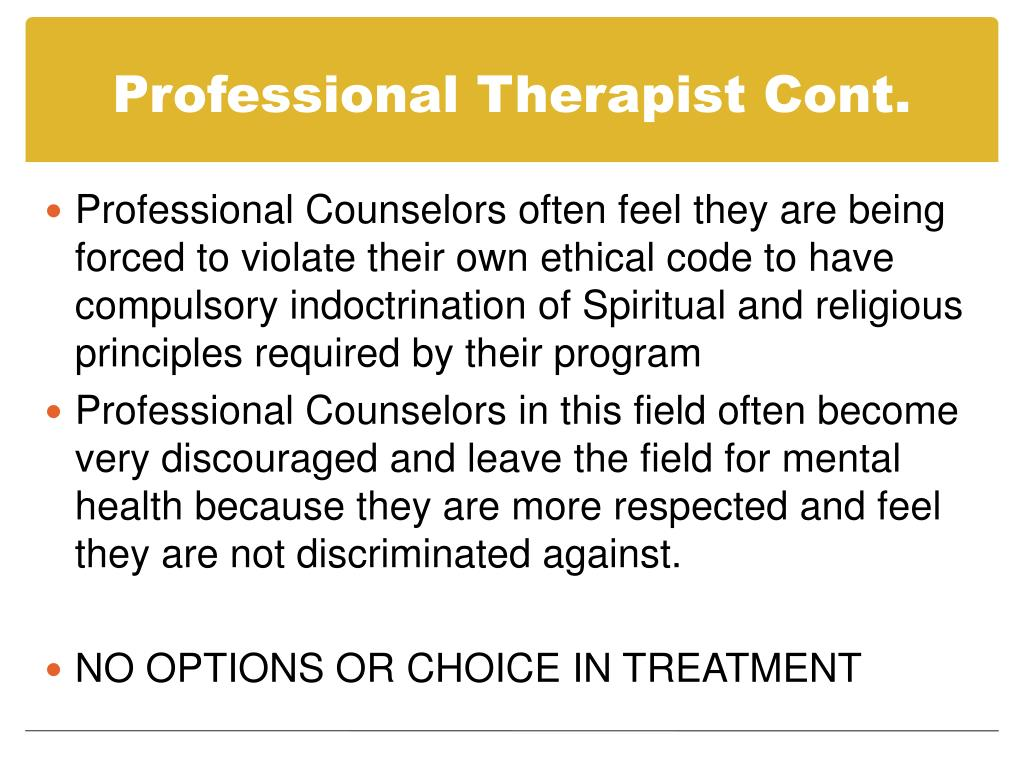 Professional Therapist Cont.