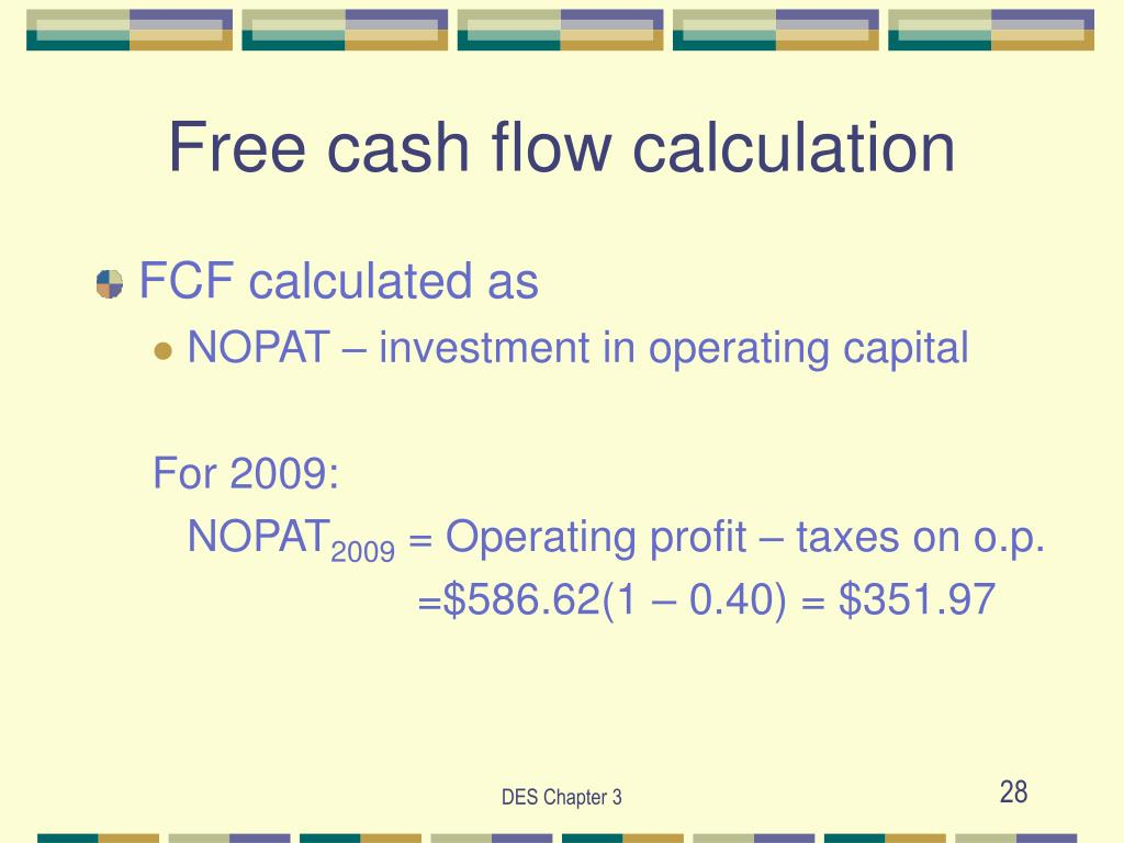 Free cash flow calculation