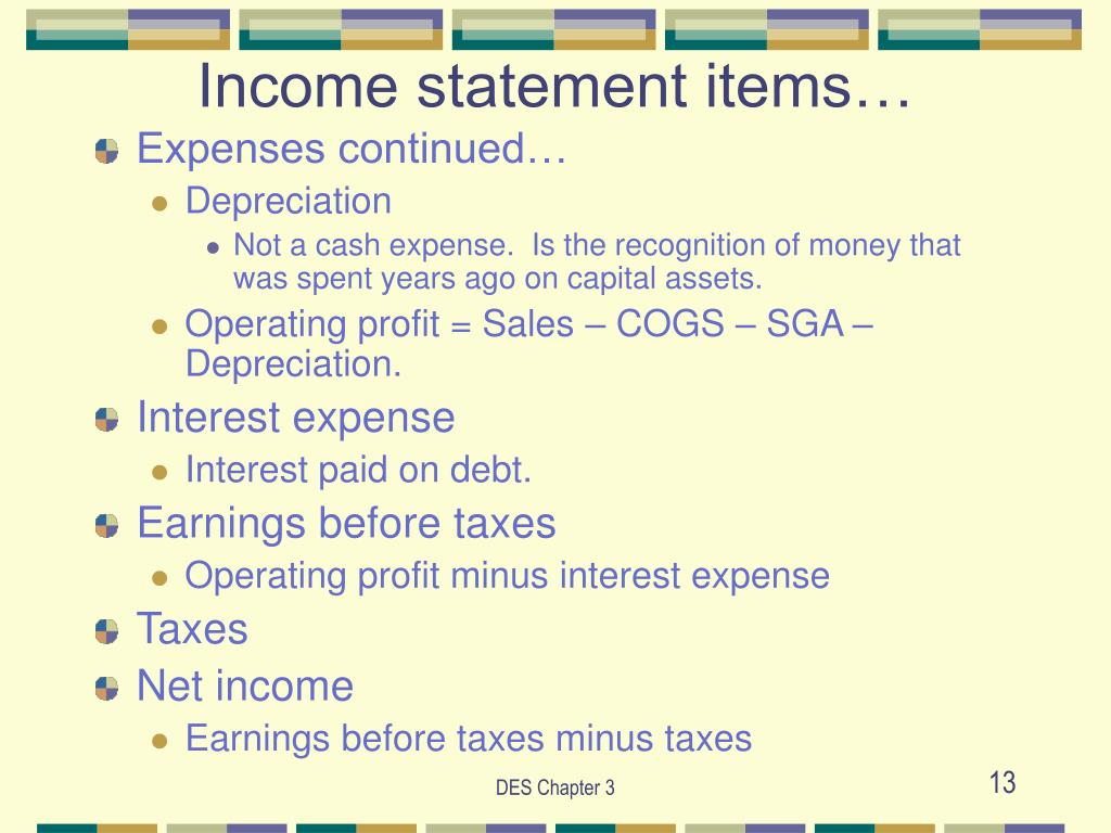 Income statement items…