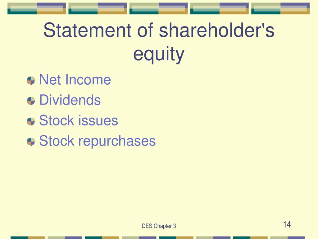 Statement of shareholder's equity