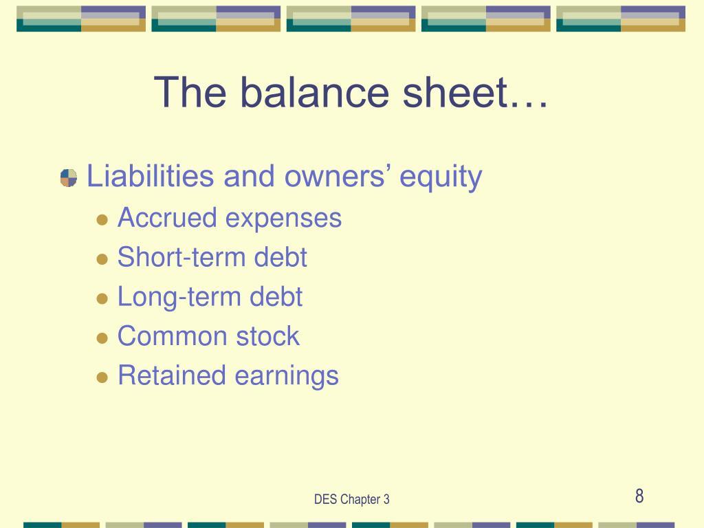 The balance sheet…