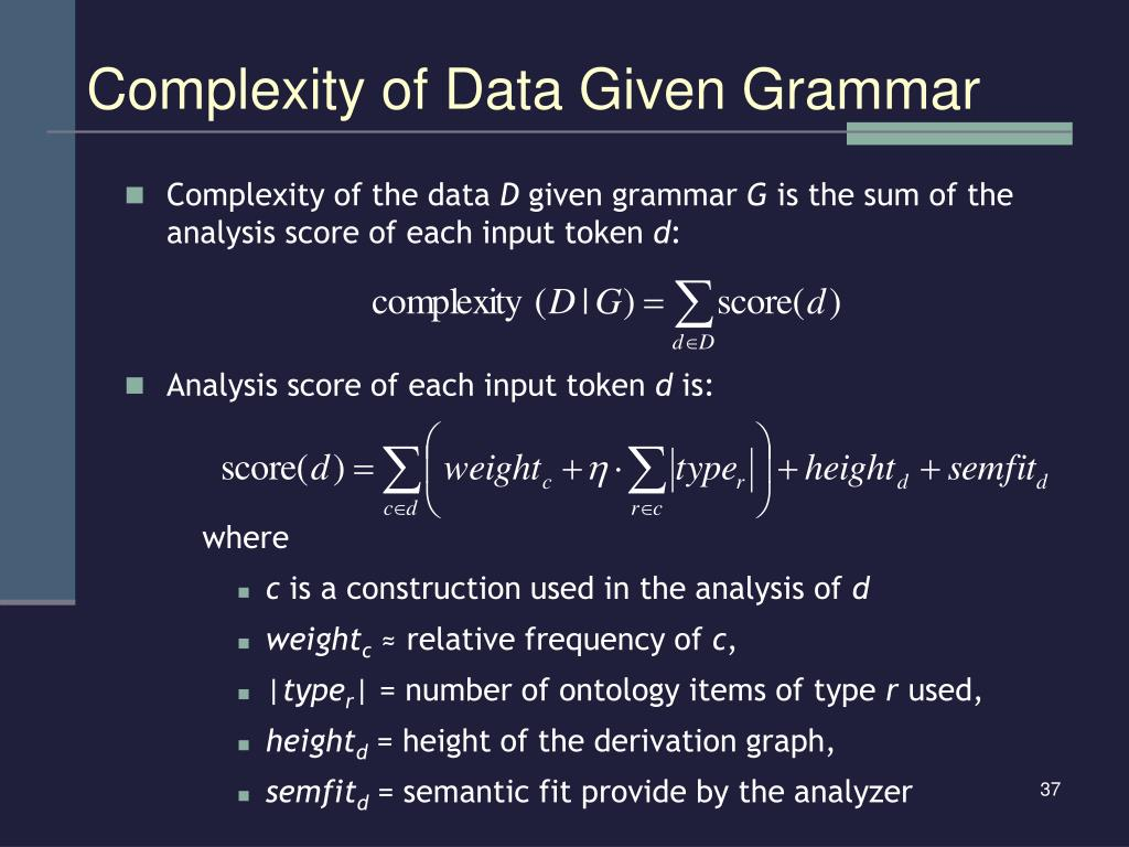 Complexity of Data Given Grammar