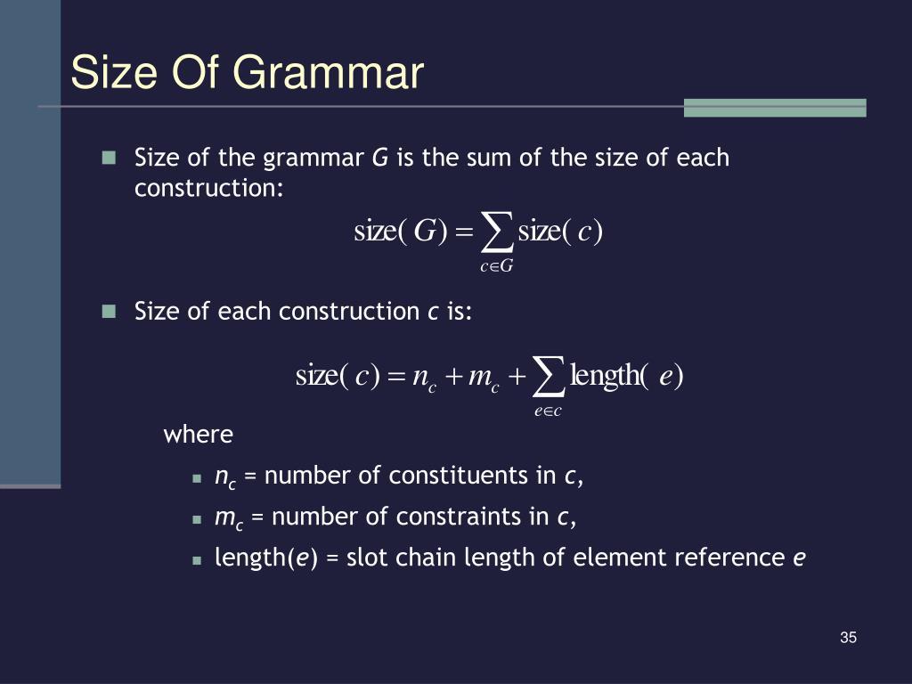 Size Of Grammar