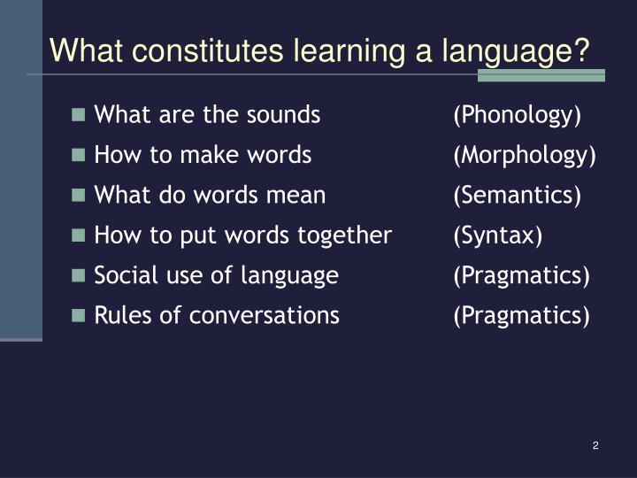 What constitutes learning a language