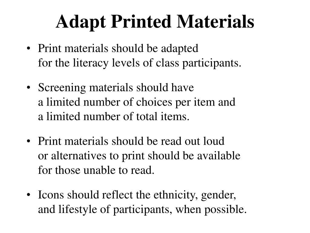 Adapt Printed Materials