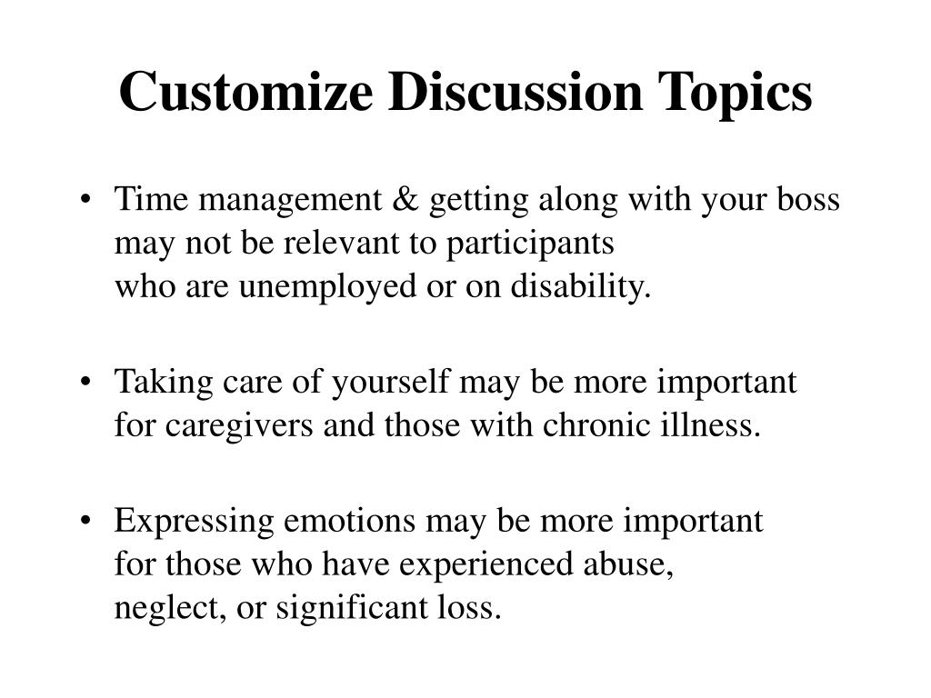 Customize Discussion Topics