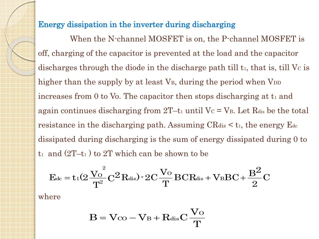 Energy dissipation in the inverter during discharging