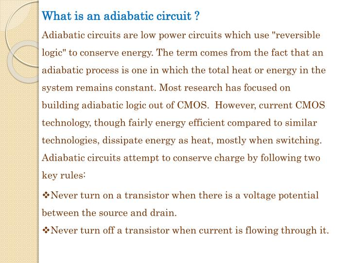 What is an adiabatic circuit ?