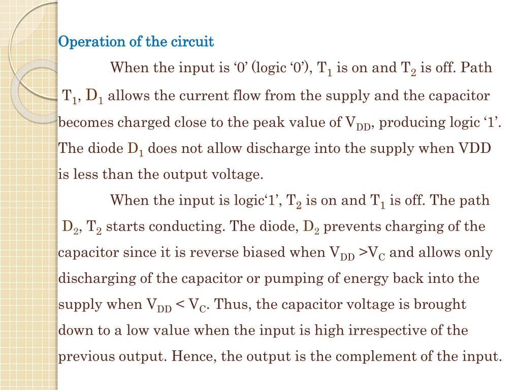 Operation of the circuit