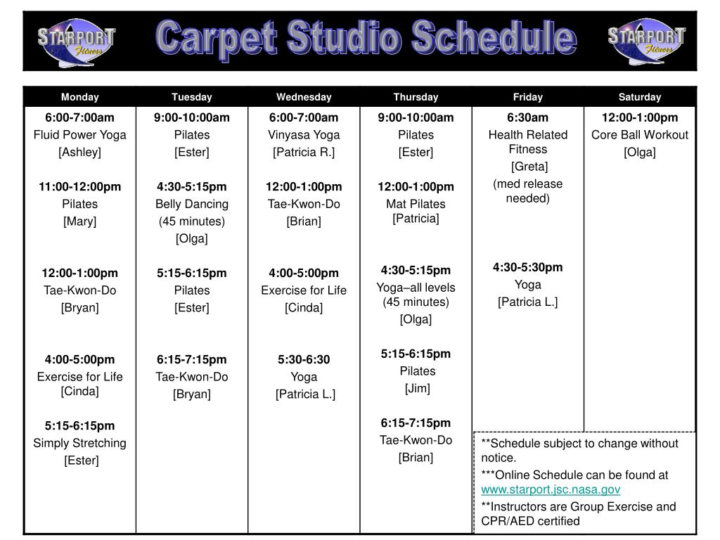 Carpet Studio Schedule