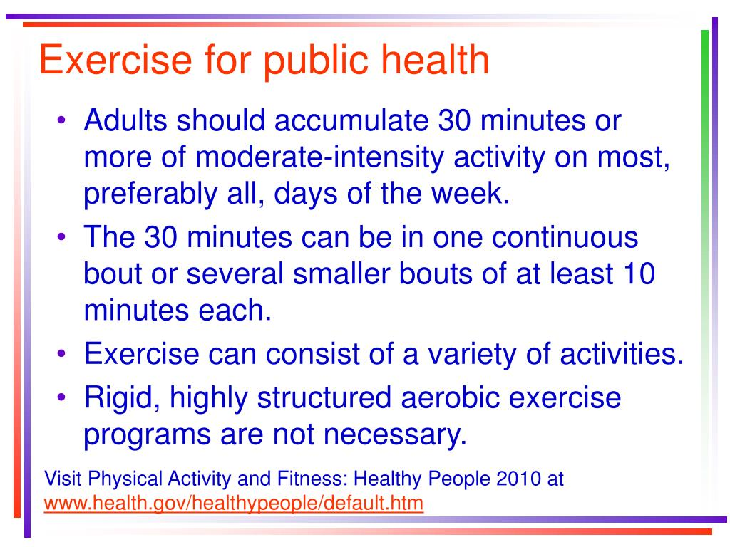 Exercise for public health