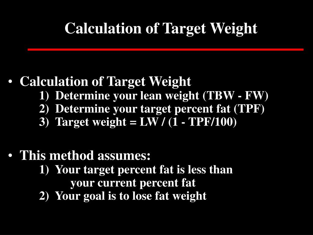 Calculation of Target Weight
