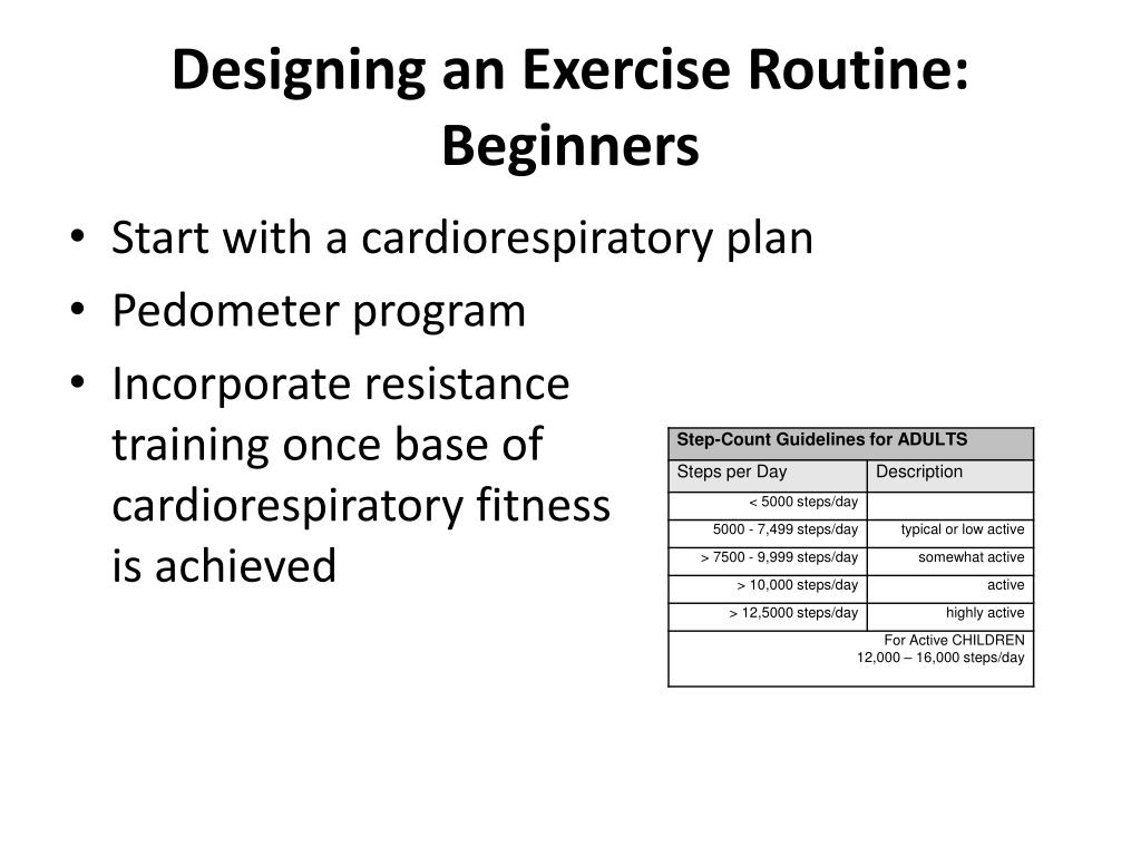 Designing an Exercise Routine: Beginners