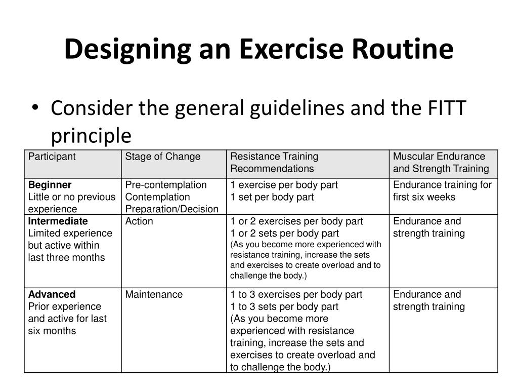 Designing an Exercise Routine