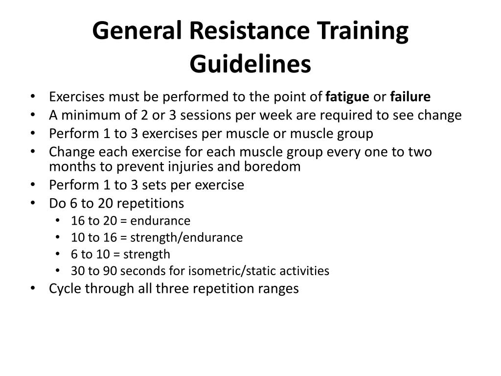 General Resistance Training Guidelines