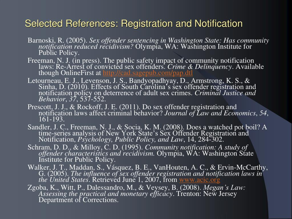 Selected References: Registration and Notification