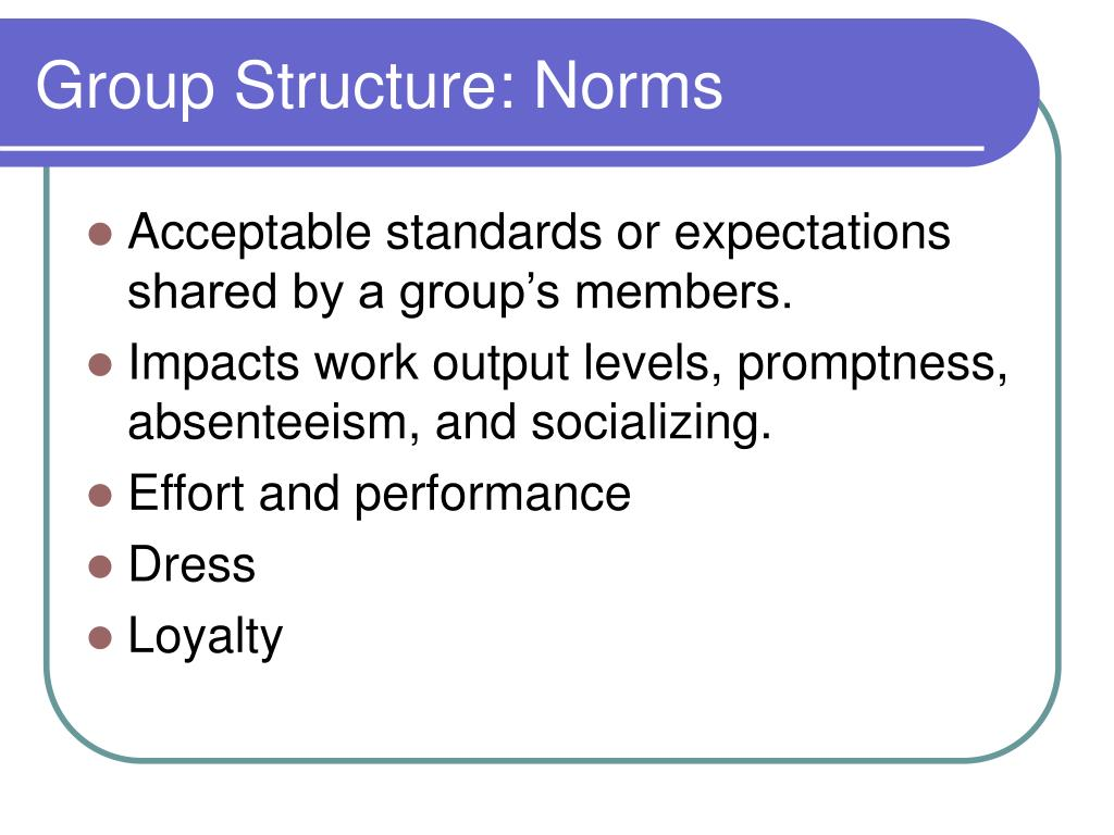 Group Structure: Norms