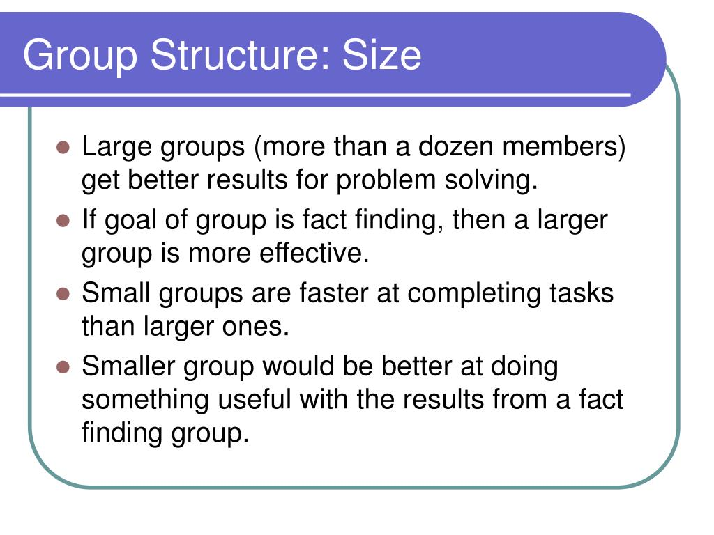 Group Structure: Size