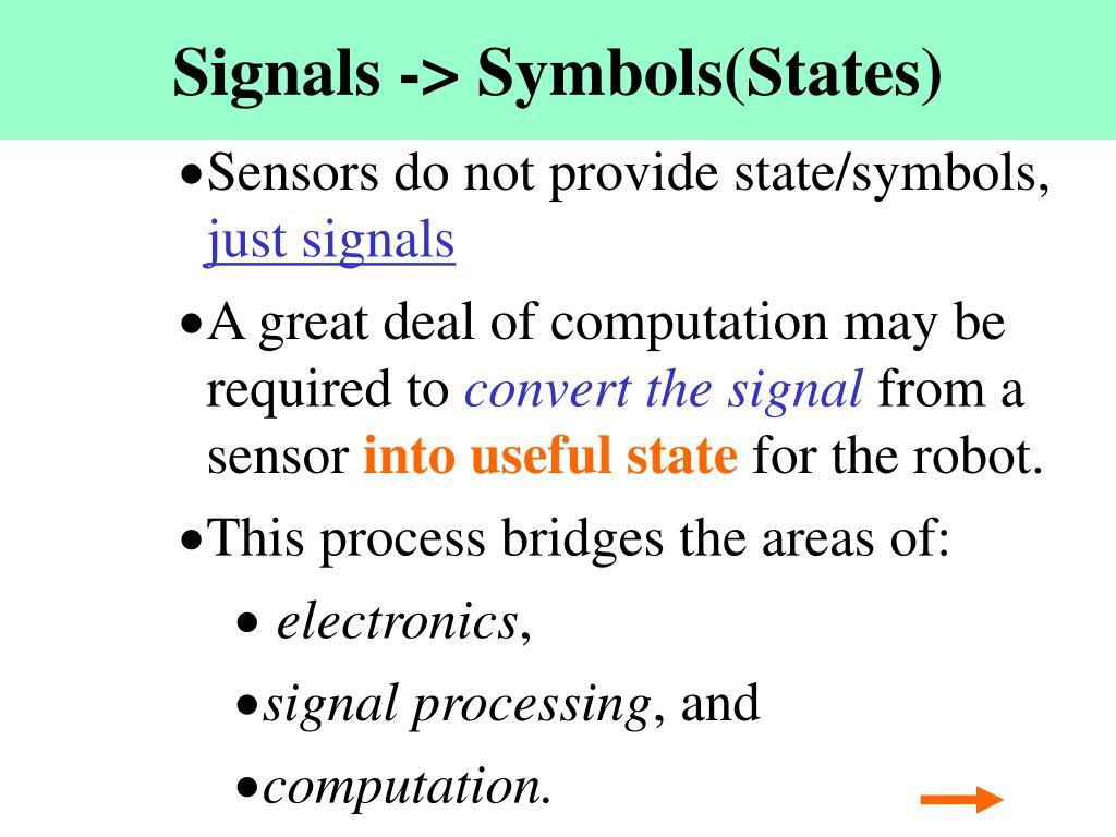 Signals -> Symbols(States)