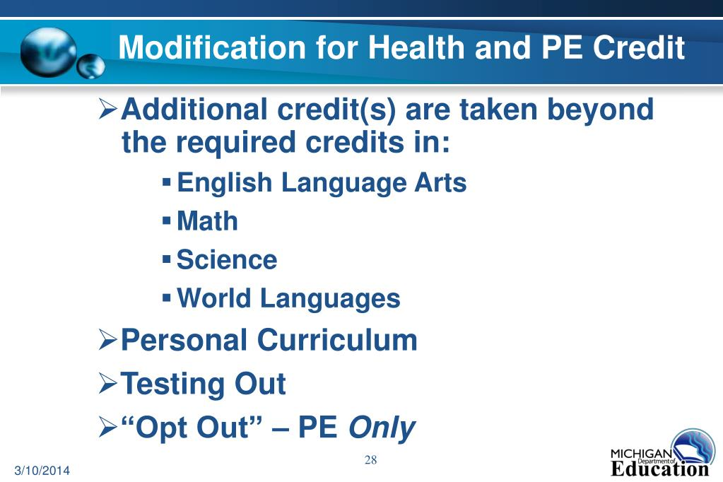 Modification for Health and PE Credit