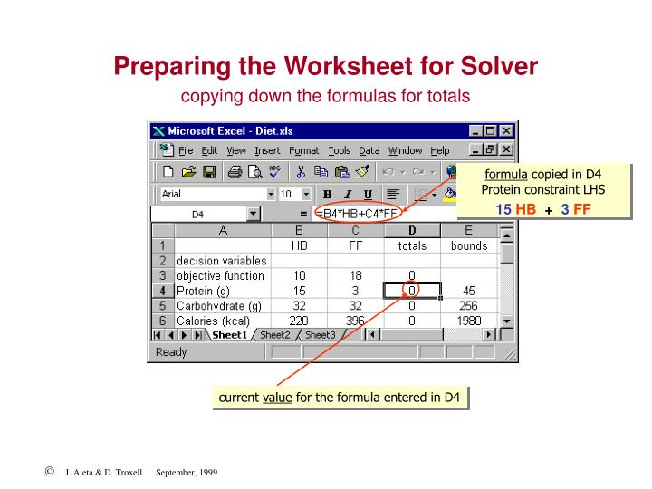 copying down the formulas for totals