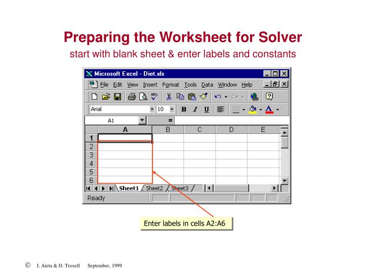 Preparing the Worksheet for Solver