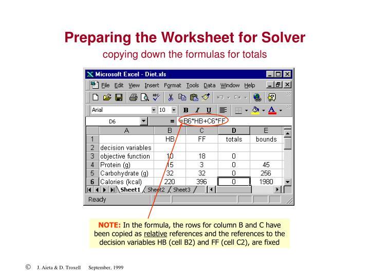 Preparing the Worksheet for Solver