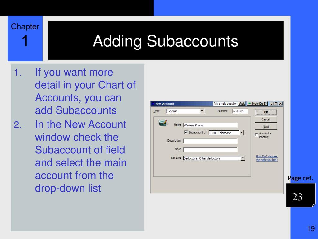 Adding Subaccounts