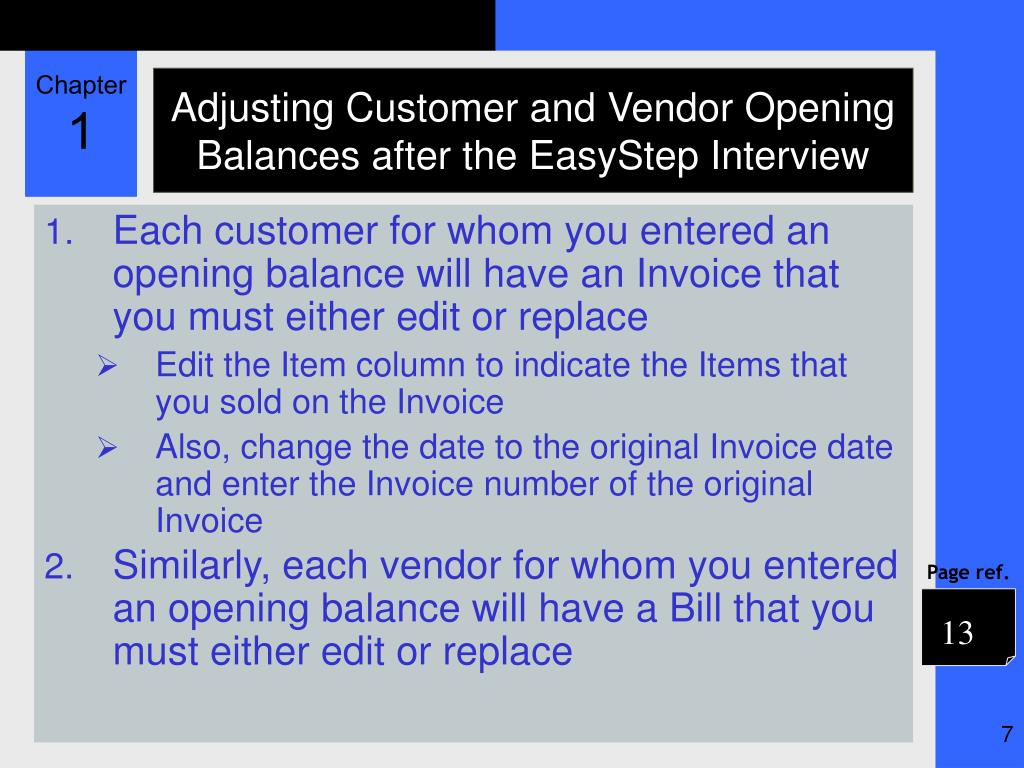Adjusting Customer and Vendor Opening Balances after the EasyStep Interview