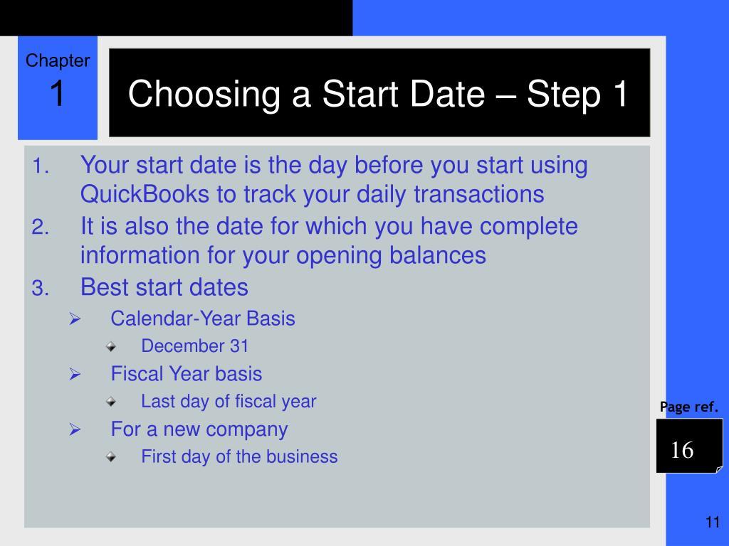 Choosing a Start Date – Step 1