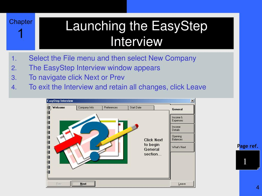 Launching the EasyStep Interview