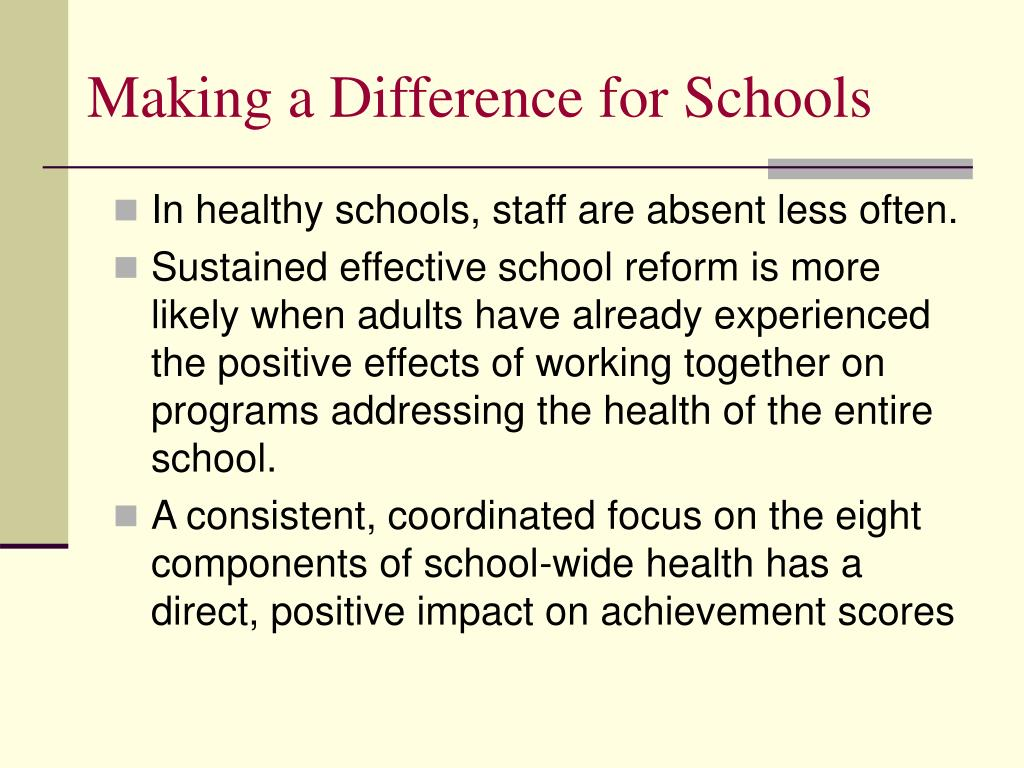 Making a Difference for Schools