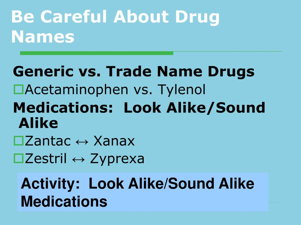 Be Careful About Drug Names