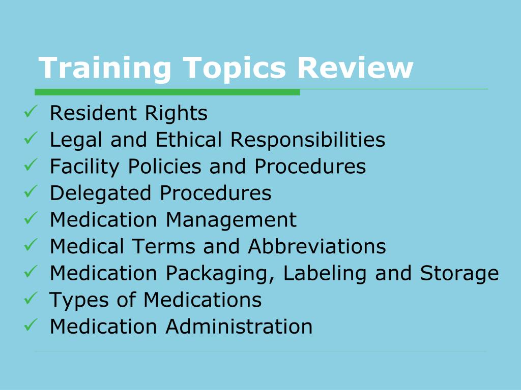 Training Topics Review