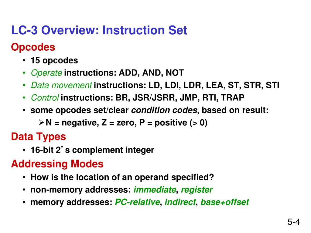 LC-3 Overview: Instruction Set
