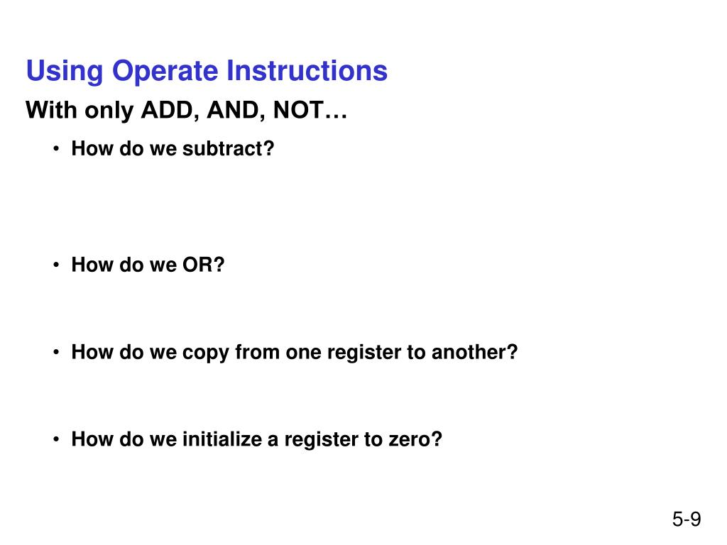Using Operate Instructions