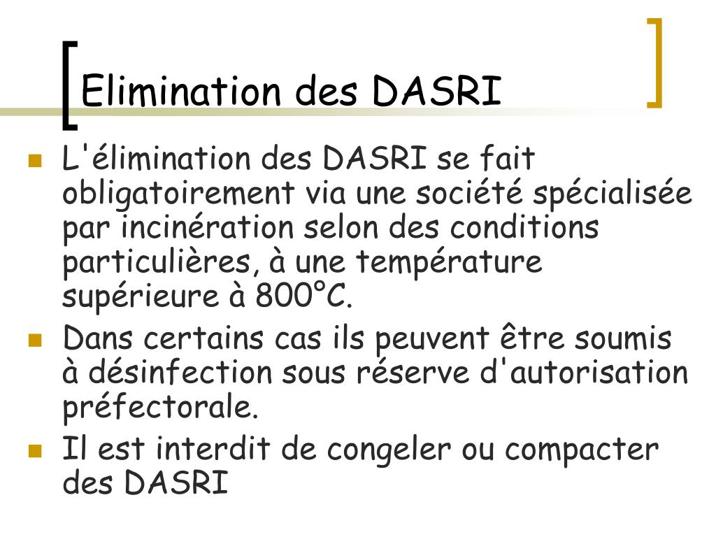 Elimination des DASRI